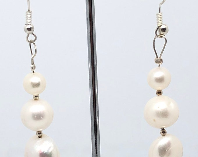 Recycled hand made 925 Silver set Pearl Earrings