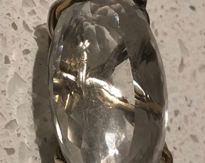 38 Carat diamond White Quartz in Silver and Brass twist wire setting