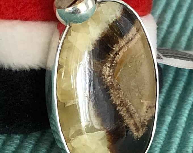 Yellow Septarian stone in sterling silver setting pendant