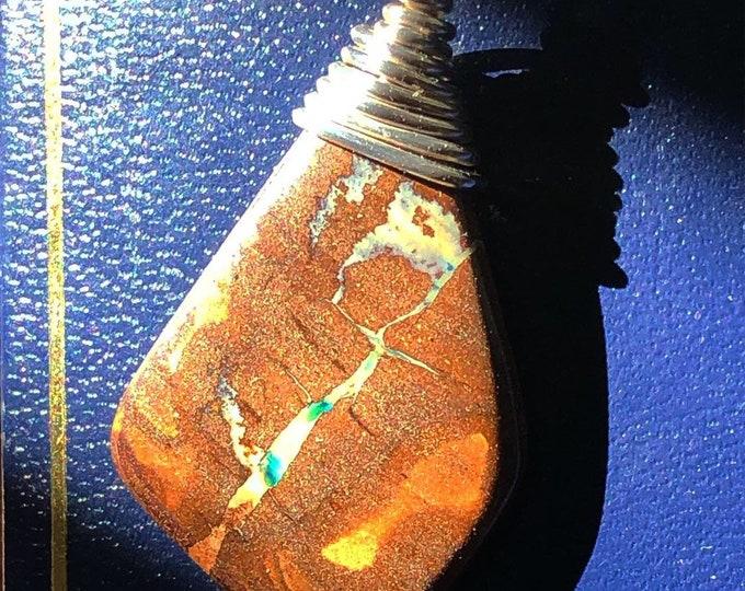 Genuine Australian Boulder Opal in Recycled Fine Silver