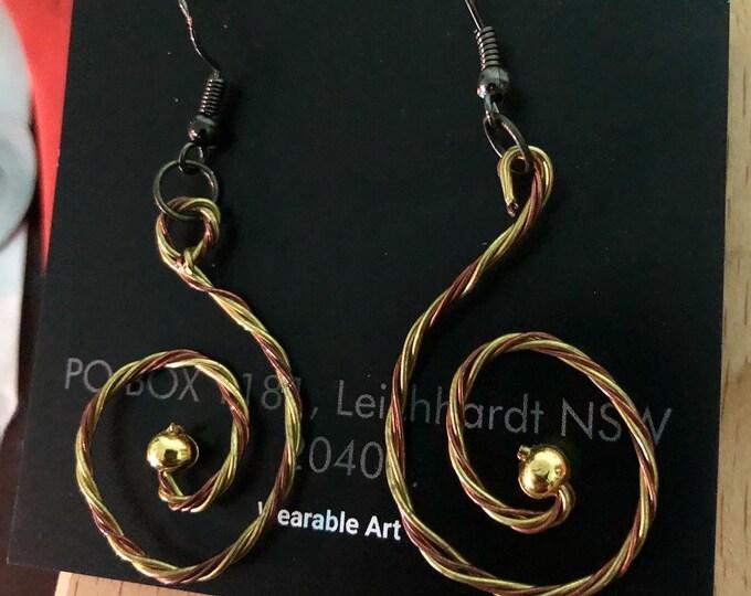 Copper and Brass woven Earrings