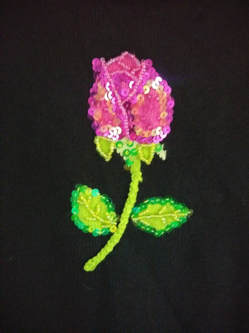 S Vintage Just B Set ~ Cardigan and Top Size Embroidered and Beaded Tulips