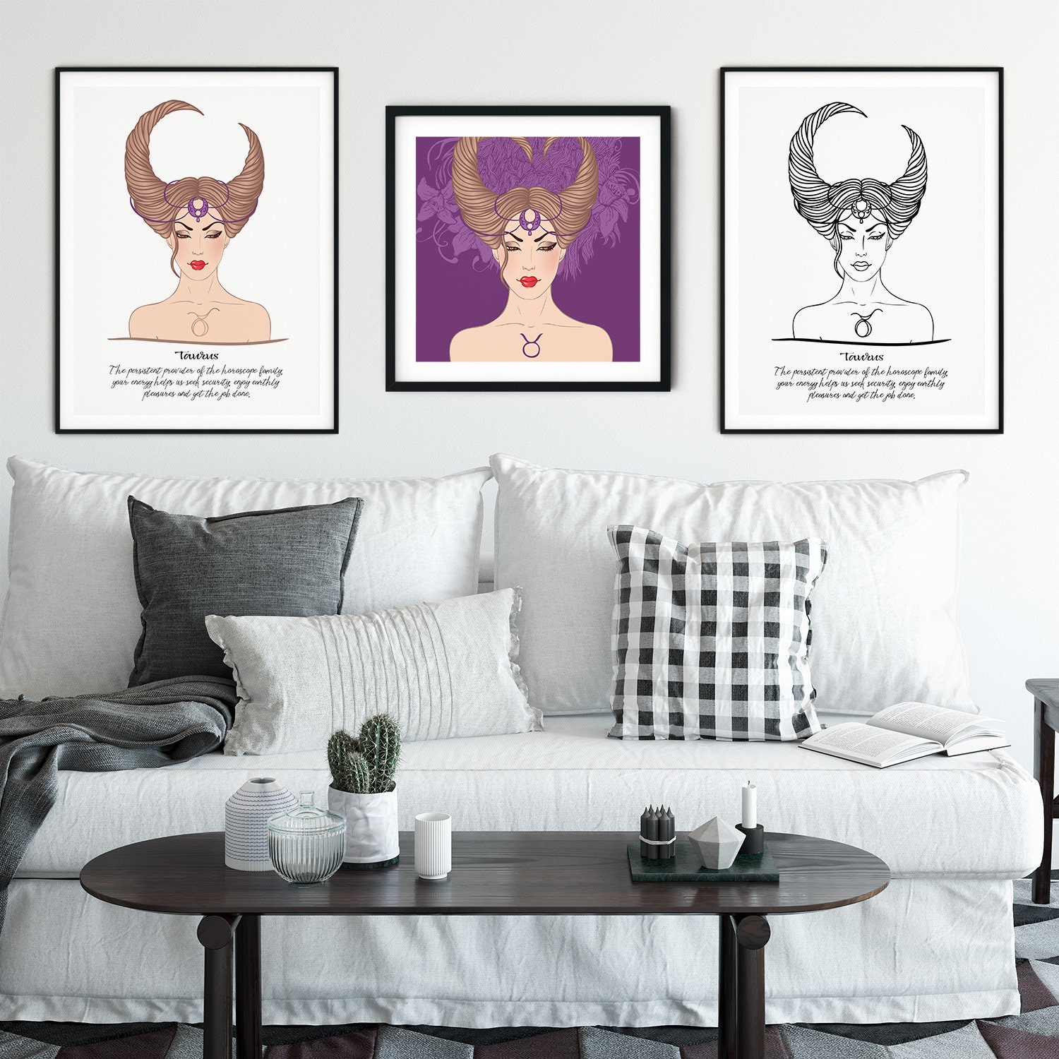 Taurus in 3 Styles Zodiac Drawing Horoscope Astrology in Black & White and  Colored to Remind Us of Our Strengths Printable Digital Download