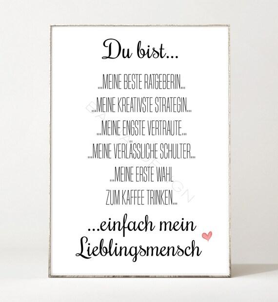 Beste Freundin Kunstdruck Poster Bild Typografie Geschenk Spruch Schrift Lieblingsmensch Beste Freundin Herz Schwester