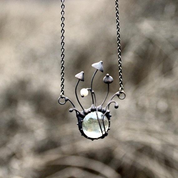 MUSHROOM jewelry TOADSTOOL necklace Garnet Jewelry Rainbow Hematite PIKSI pendant