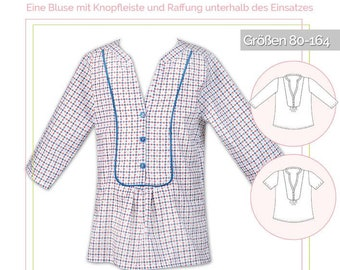 Paper cut pattern lillesol stars No.14 Evita blouse kids *with video sewing guide*
