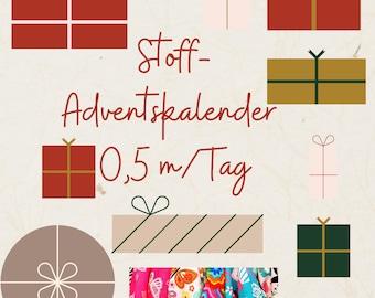 Advent Calendar Fabrics 2021 0.5 m Fabric/ Day, 12 m, various qualities, pre-order