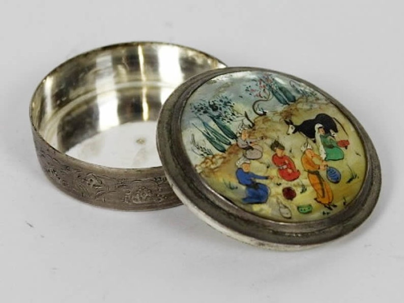 Antique Asian tin miniature mother-of-pearl painting image 0
