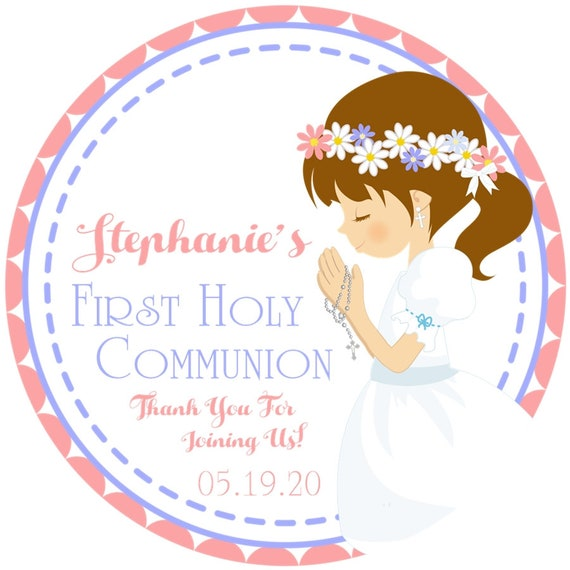 40 2.0 inch First 1st Communion stickers labels tags girls cross