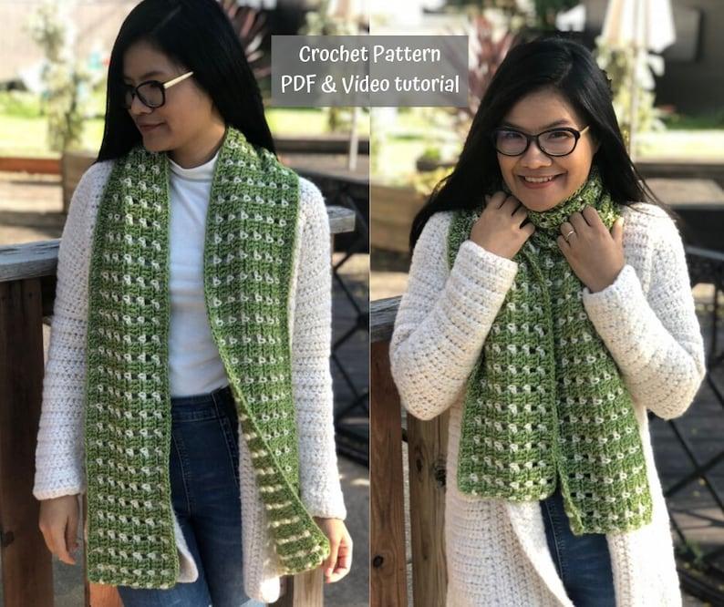 crochet pattern : crochet scarf pattern pdf file and video image 0