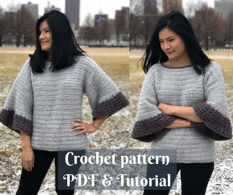 Crochet pull over sweater pattern with bell sleeves Us image 0
