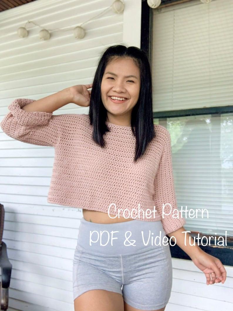 Crochet Pattern : Crochet pullover sweater pattern.PDF file image 0
