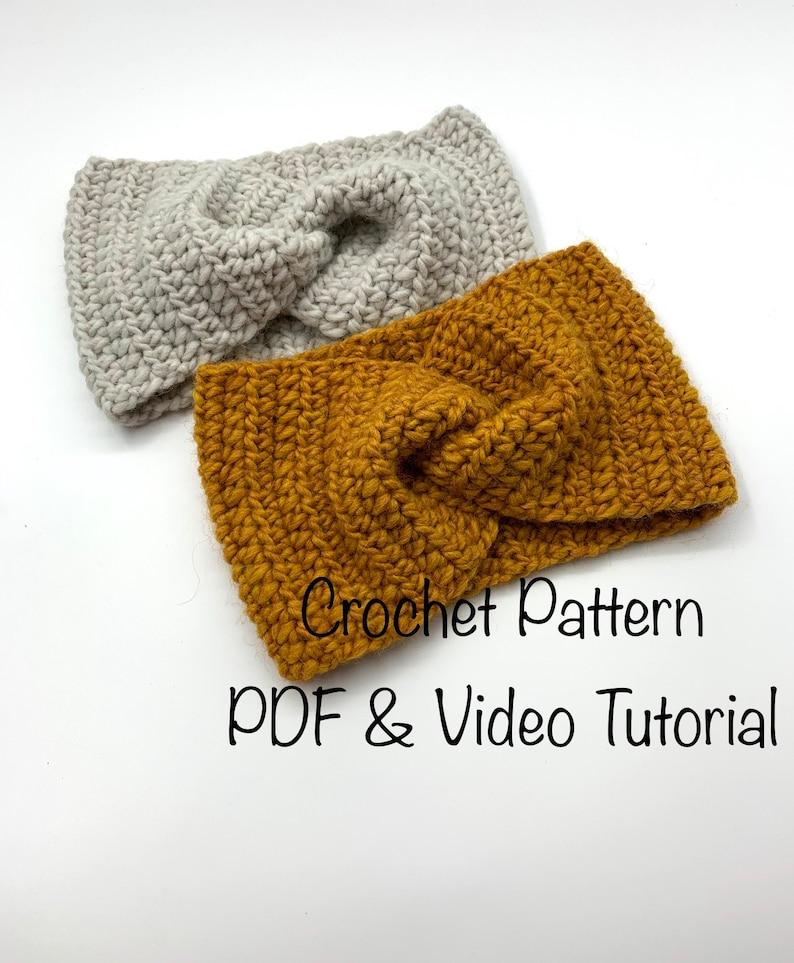 Crochet Ear Warmer and Headband Pattern PDF file and video image 1