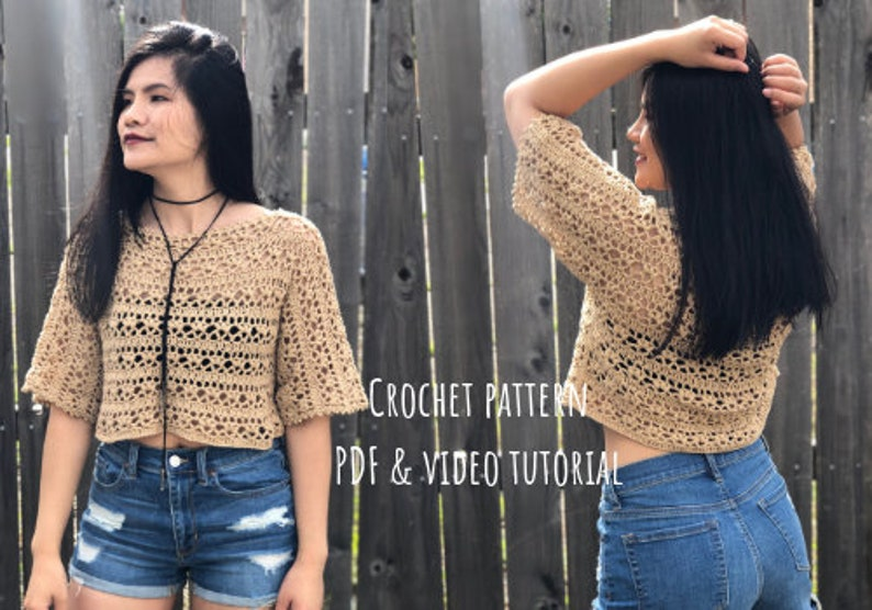 Crochet pattern: Lacy summer top Pdf file and video tutorial image 0
