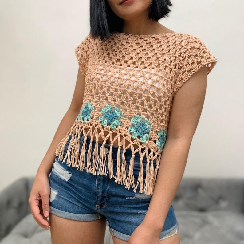 Boho crop top crochet pattern optional boho style fringe PDF image 0