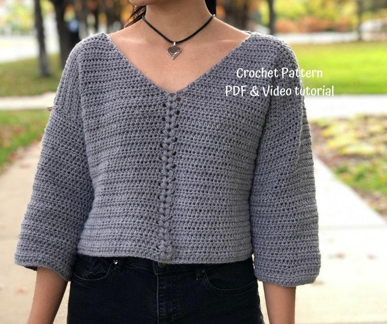 Crochet Pattern : Crochet crop top sweater pattern for US image 0