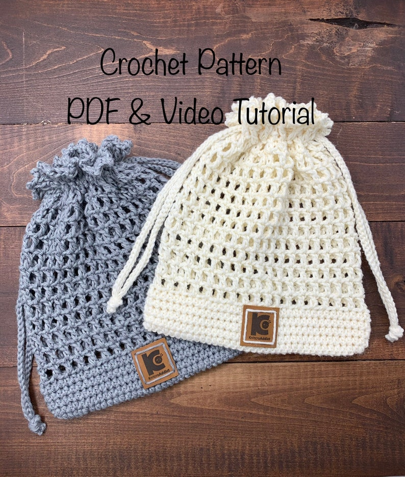 Crochet Pouch Pattern pdf file and video tutorial crochet bag image 0