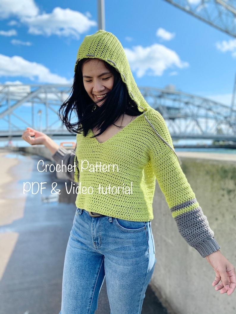 Crochet Hoodie Sweater Pattern Pdf instant digital download as image 0