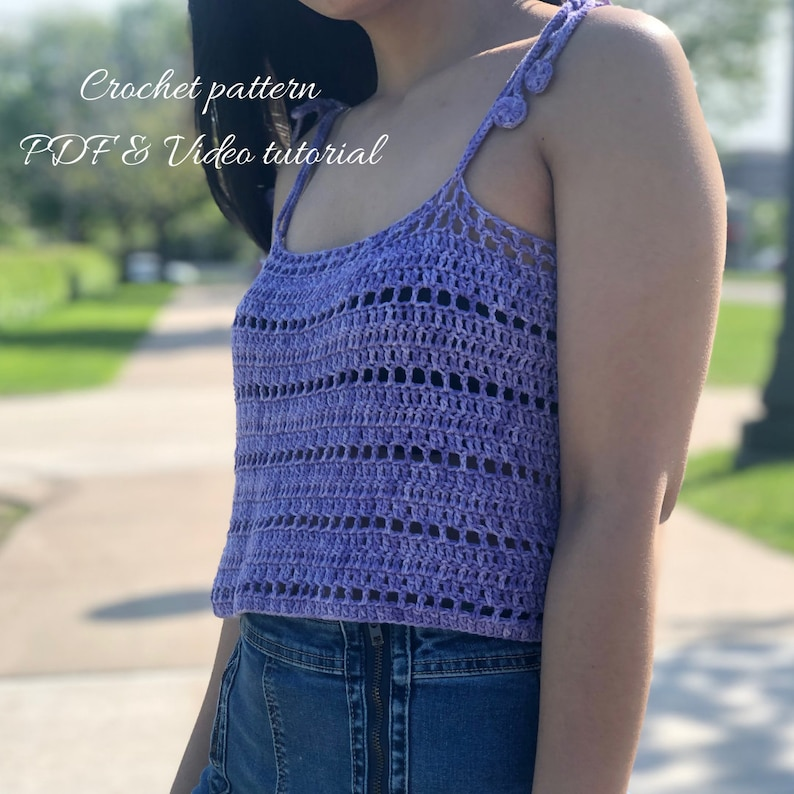 Crochet tank top pattern : For us women's XS  XXL. PDF image 0