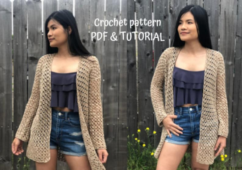 Breezy Crochet Cardigan Pattern for summer Digital PDF image 0