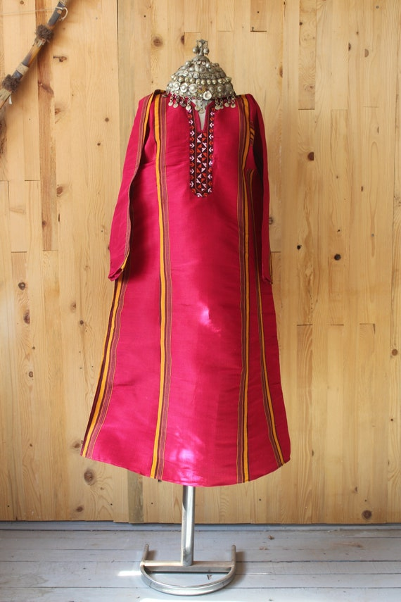 Bohemian Red Silk Dress,  Ethnic Raw Silk Dress, S