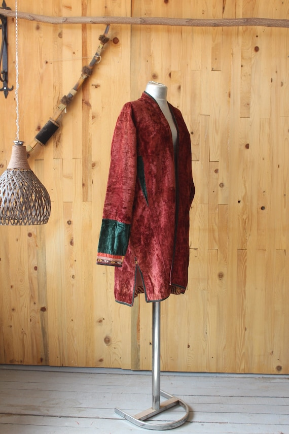 Ethnic Velvet Coat, Vintage Red Velvet Jacket, Boh
