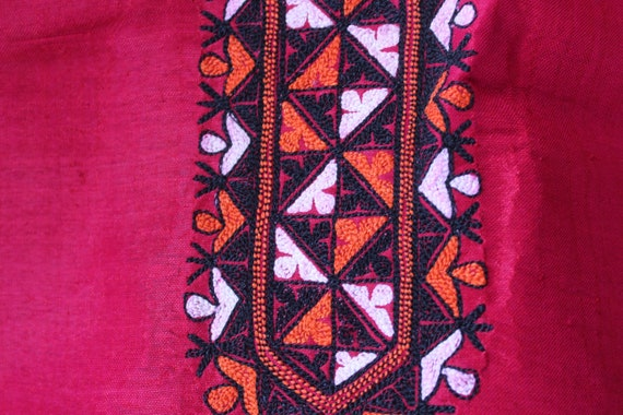 Bohemian Red Silk Dress,  Ethnic Raw Silk Dress, … - image 7