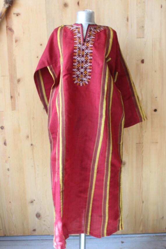 Ethnic Red Dress, Raw Silk Boho Dress, Vintage Sil
