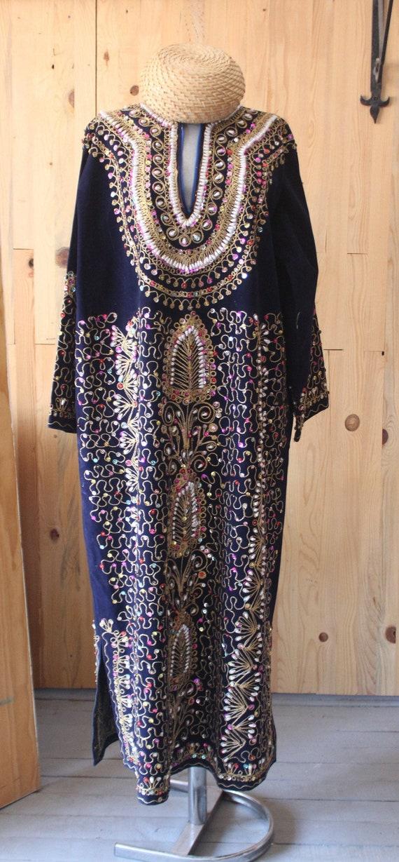 Velvet Ethnic Dress, Embroidered Ottoman Dress, Bo
