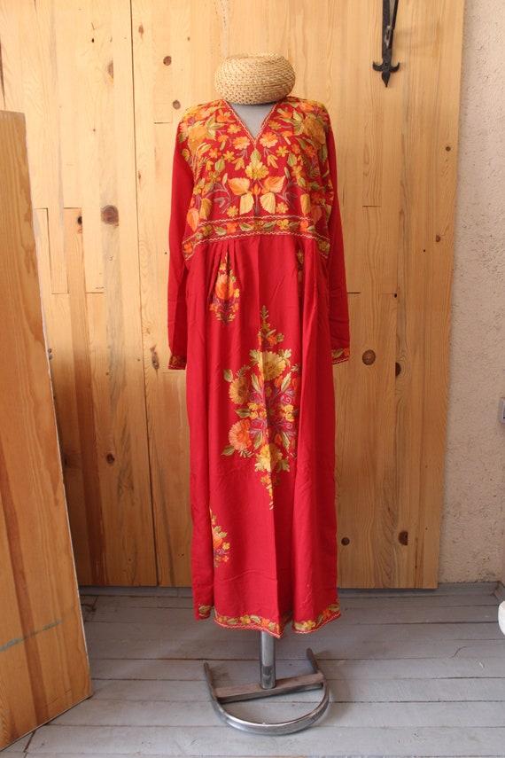 Suzani Silk Dress, Bohemian Dress,  Embroidered  S