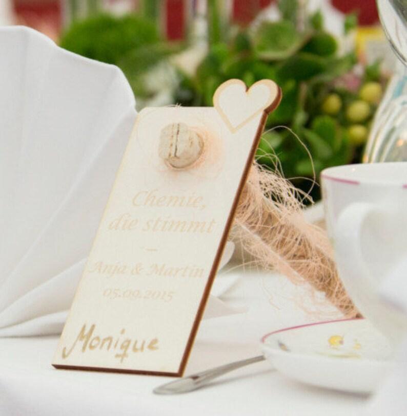 Tischkarte  Hochzeit mit Reagenzglashalter aus Holz image 0