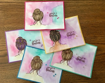 Strong Women Cards Set of 5 You're a Badass cards handmade. Customizable hair & skin tones. Feminist Empowerment Mother's Day Women's Day
