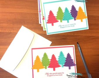 Rainbow tree christmas cards bright colorful Pine Tree Rainbows holiday card set Pride Gift for the holidays