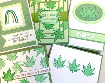Pot Leaf Card Set, weed cards for your best buds cannabis, marijuana, Mary Jane leaves hemp, 420 birthday gift