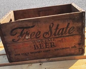 Antique Beer Crate, Breweriana, Rustic Wood Box, Vintage, Wedding Decor,  Farmhouse Log Storage, Cottage Living, Photo Prop