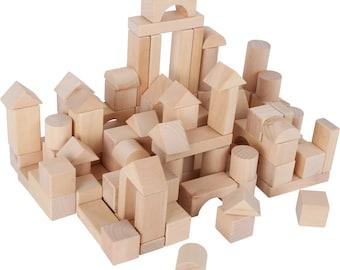 Wooden blocks in bag 100 pieces