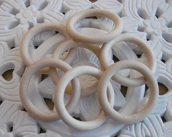 5 wooden rings, natural wood rings 70 mm