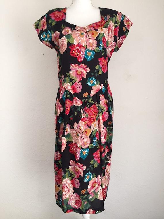 Vintage 80s April Rain Floral Dress With Shoulder