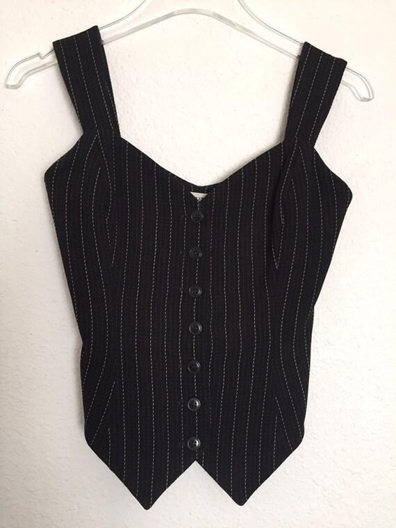 Vintage 80s Norma Kamali Top Vest Pinstripe