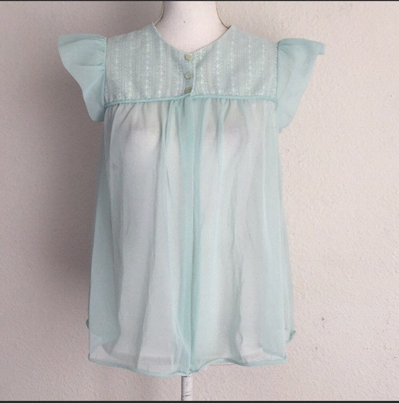 Vintage 1960s Rovel Babydoll Pajama Top Size Small
