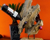 Root wood bottle stand | Approx. 45 cm bottle stand for 3 - 4 wine bottles from a teak wood sculpture | Extravagant gift idea