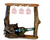 Teak Root Wood Wine Rack | 40 cm Bottle stand for 1 Bottle and 3 Glasses | Rustic gift idea for birthday, wedding or Moving In