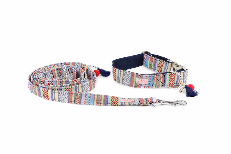 Cityline Dog Leash Ibiza Triple Dog Leash Hippie Adjustable Dog Leash Dog leash Boho Blue