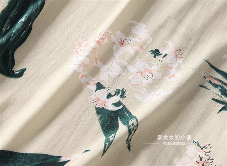 Floral Pajama set Short sleeve shirts Short pants set Cotton100 Beige Flower Pattern
