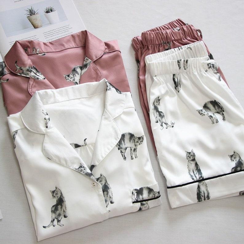 0dc0ba5a722 Cat cats Pajama set Short sleeve shirts Short pants set Polyester 100  pattern