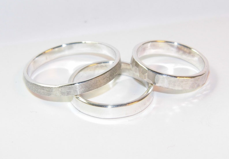 23be601160 Pair Of Silver Rings With 4 Designs To Choose Set   Etsy