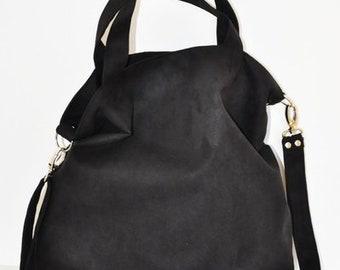 8a78ba53b2 Hobo bag eco suede large shoulder bag cross body black