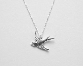 Necklace - SCHWALBE - bird necklace, silver chain with bird pendant, filigree silver chain, special birthday gift, delicate silver chain,
