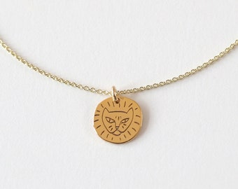 Necklace - LÖWE, 925 silver gold plated, filigree necklace, special gift idea, golden zodiac string, cute animal necklace, engraved necklace