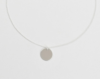 Necklace - SMALL PLATE, 8 mm, 10 mm, 925 silver, silver chain with coin, gift for her, geometric silver jewelry, filigree chain